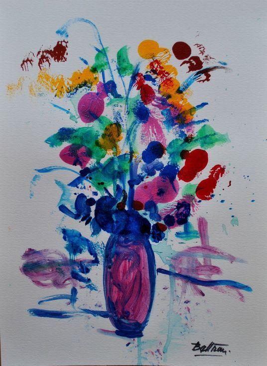 Le Vase Japonais Aux Fleurs Iridescentes 11 81 X 15 75 In 30x40cm 2018 2018 Acrylic Painting By Pierre Yves Beltran Original Paintings Painting Acrylic Painting
