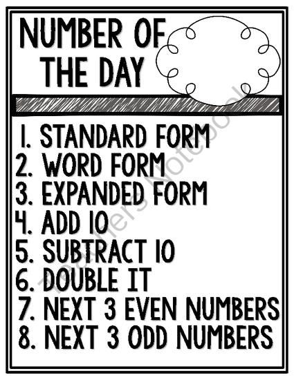 Number of the Day Pack [for place value practice] from O-H So Blessed on TeachersNotebook.com -  (6 pages)  - 3 Number of the Day Posters for place value practice with corresponding student response sheets