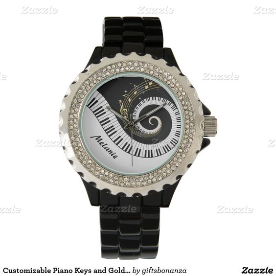 Customizable Piano Keys and Gold Music Notes Watch