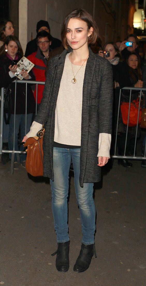 Keira Knightley distressed jeans, ankle boot, long pastel sweater, coat, long chain necklace #fashion