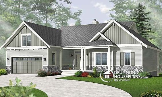 Craftsman style basement plans and house blueprints on for Craftsman house plans with basement