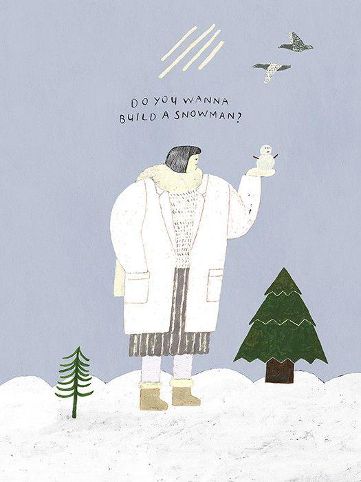 snowman - 일러스트레이션, 파인아트