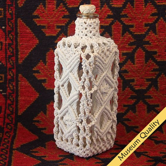Macrame Covered Antique Square Bottle circa by MacrameBottles, $995.00