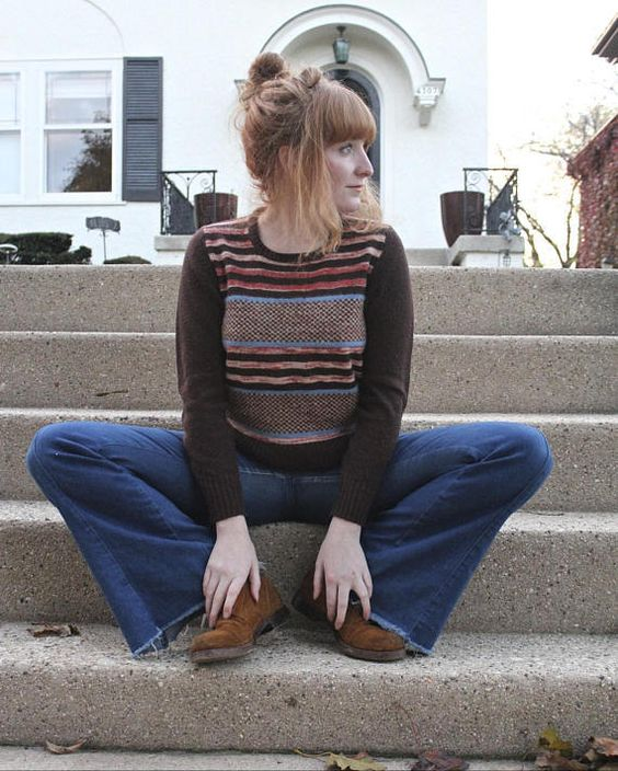 70s Space Dyed SWEATER Vintage Soft PULLOVER Striped Mod Brown Boat Neck Knit Top TWEE Size Medium Women's Knitwear Autumns Cropped Sweaters by HarlowGirls on Etsy