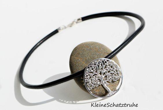 """Nappalederkette mit """"Lebensbaum"""" 925 Silber  von KleineSchatztruhe auf DaWanda.com"""