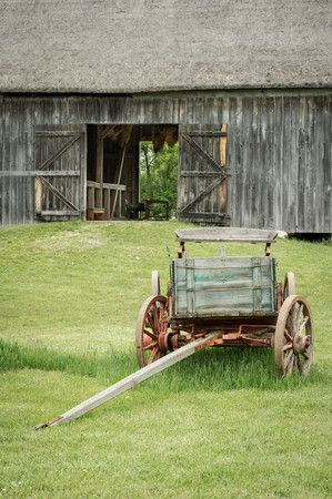 Wagon and barn at the Schultz farm in the German area.: