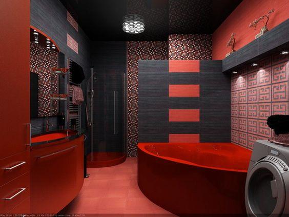 Bathroom Interior Design Ideas excellent ffdfdfef bathroom interior design at incridible ideas Black And Red Bathroom Interior Design Ideas By