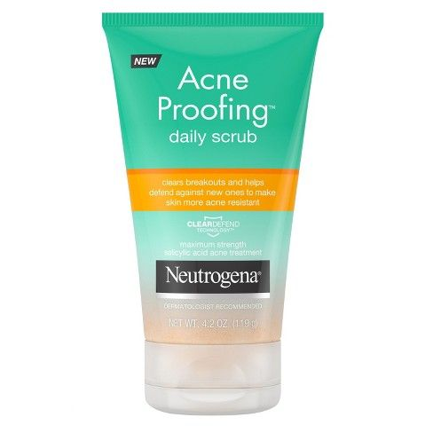 4OZ FACE SCRUB - 8.49 @ TARGET.... Neutrogena Acne Proofing Daily Salicylic Acid Acne Treatment Exfoliating and Cleansing Face Scrub - 4.2oz : Target