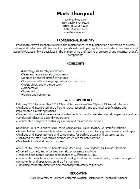1 Aircraft Mechanic Resume Templates Try Them Now Resume Examples Job Resume Examples Job Resume Samples