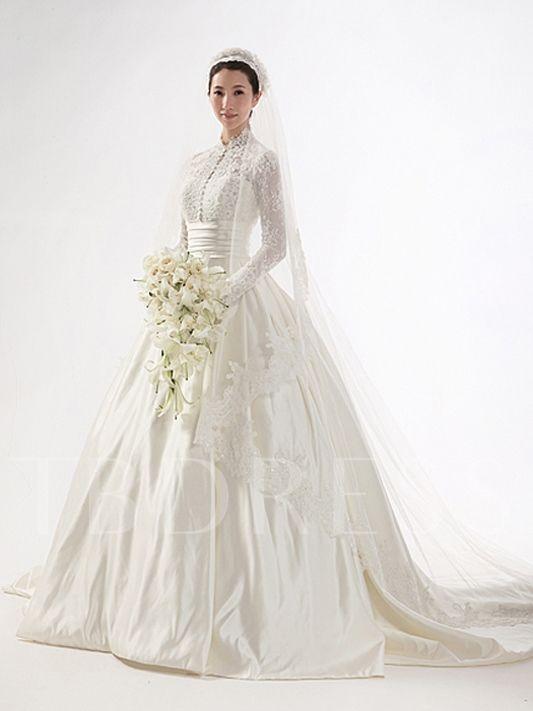 High Neck Long Sleeve Lace Vintage Wedding Dress Long Sleeve Wedding Dress Lace Long Sleeve Wedding Dress Vintage Wedding Dress Train