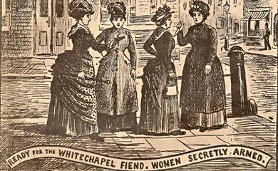 """From Illustrated London Police News: """"Ready For the Whitechapel Fiend.  Women Secretly Armed."""