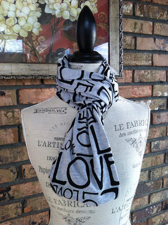 SALE Heather Gray LOVE Infinity Scarf, Soft Gray Jersey, Circle Scarf, Chunky Scarf on Etsy, $17.00