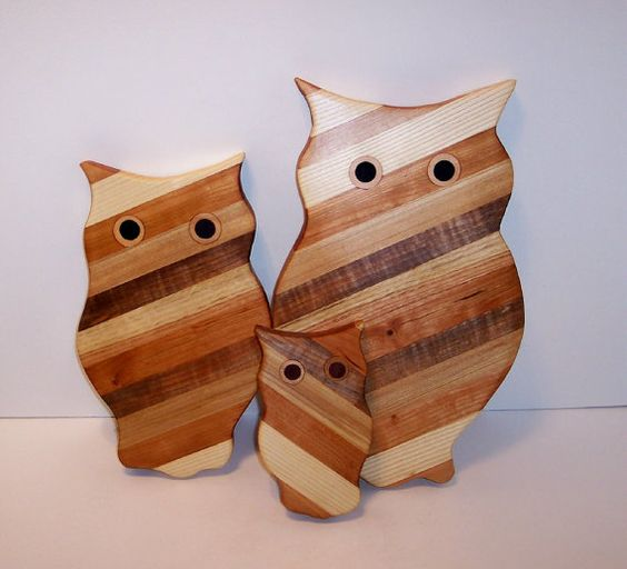 3 Owl Wood Cutting Board Set Handcrafted from Mixed by tomroche