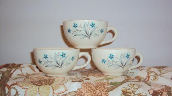 Tea for Three  Teal Flower Tea Cups by JackalopeInteriors on Etsy, $9.00