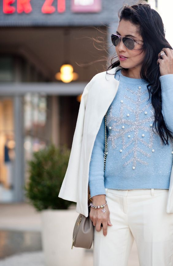 cute & little blog | petite fashion | white coat, blue snowflake sweater, white devin trousers, chloe drew small bag | outfit