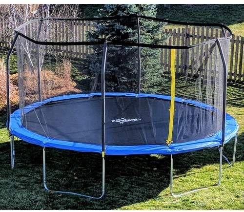 Backyard Jump 12 Round Trampoline With Safety Enclosure Backyard Trampoline Backyard Safety Backyard