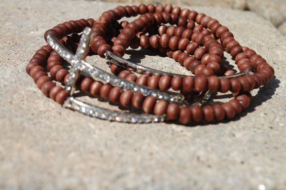 Side Cross Bracelet Stackables  Dark Brown by StringofLove on Etsy, $22.00