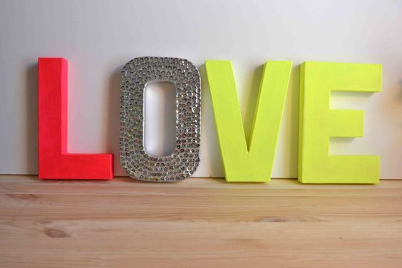 Neon Pink & Neon Yellow LOVE Letters