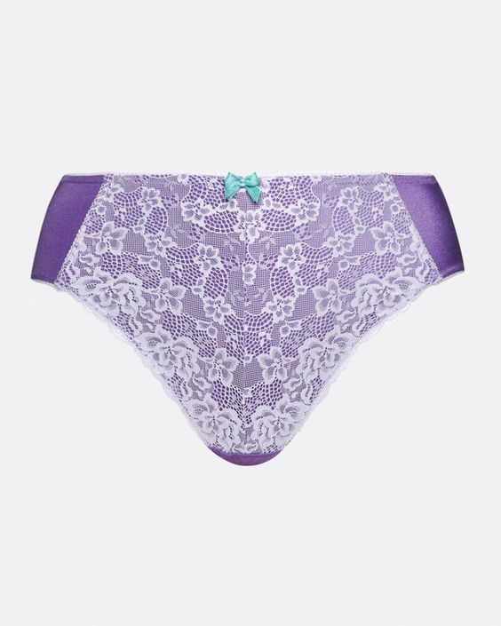 Feel sexy and feminine in this pretty hi cut panty! Features fabulous lace at front and shiny microfiber at back.