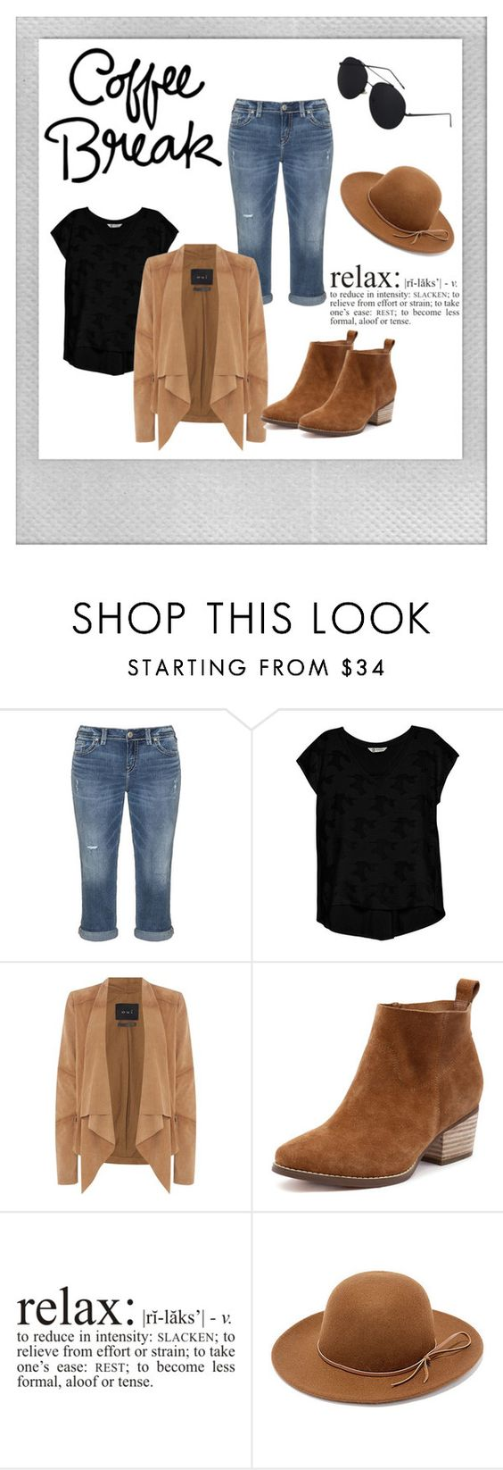 """Coffee Time!"" by xbelievefashionx ❤ liked on Polyvore featuring Polaroid, Silver Jeans Co., Bobeau, Oui, RHYTHM, relax, coffee and coffeebreak"