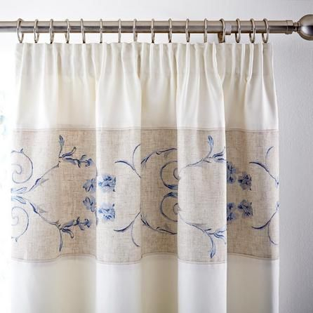 Chateau Blue Thermal Pencil Pleat Curtains #floral #curtains ...