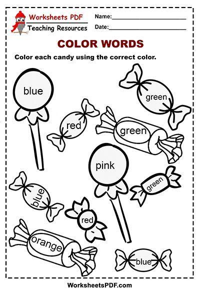 Candy Color Words Activity 1 Color Word Activities Word Activities Worksheets For Kids Kindergarten color words worksheets