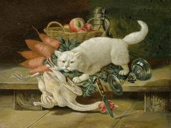 David Emile Joseph de Noter (Bélgica, 1825-1875). Stilleben mit Katze.: