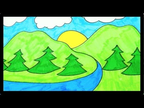 How To Draw A Mountain Landscape Easy For Kids Elementary Art Projects Mountain Drawing Drawing For Kids