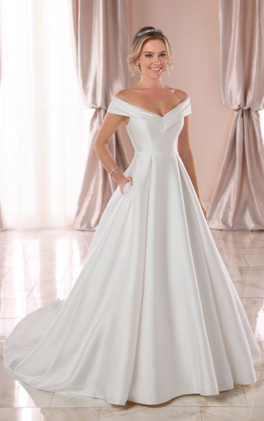 Simple Ballgown With Off The Shoulder Sleeves Stella York Wedding Dresses Wedding Dress With Pockets Off Shoulder Wedding Dress Wedding Dress Trends
