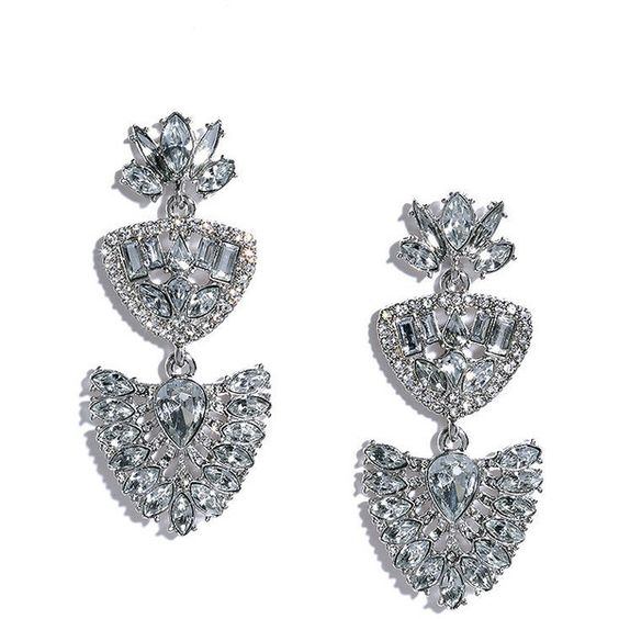 Here to Shine Silver Rhinestone Earrings ($15) ❤ liked on Polyvore featuring jewelry, earrings, silver, silver earrings, lulu jewelry, rhinestone stud earrings, polish jewelry and polish silver jewelry