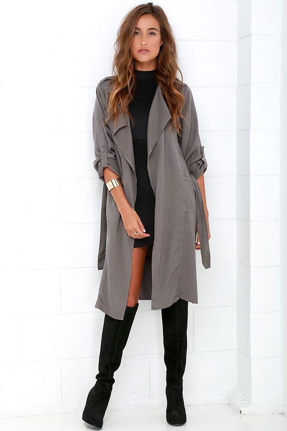 Black Swan Emma Trench Coat - Dark Grey Coat - Duster Coat - $115.00