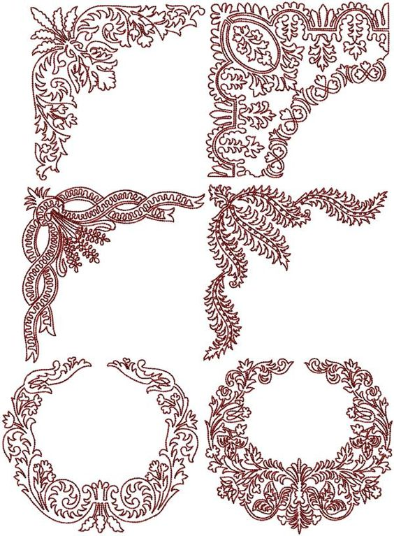 Stand Alone Lace Embroidery Designs : Advanced embroidery designs redwork flower corner set