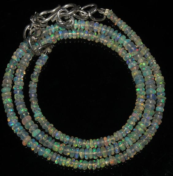 """22Crts 1 Necklace 2to3mm 15"""" Beads Natural Ethiopian Welo Fire  Opal  AA++55706"""