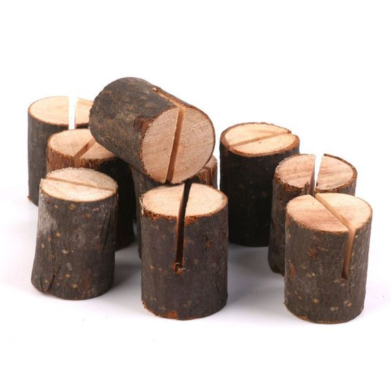 10 pcs nom lieu détenteurs de cartes de mariage en bois Home Decor