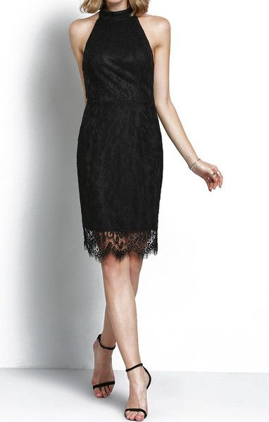 Black Halter Backless Lace Dress - Zooomberg