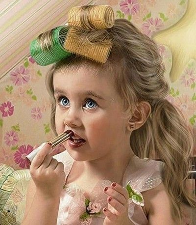 sweet girl playing makeup