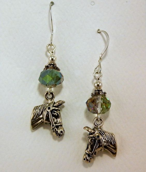 Sterling Silver Horse head 3D earrings with Crystals by celtictreasures on Etsy