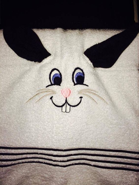 Rabbit towel with wash cloth ears. Made in Gammys Shop. Can also be personalized.
