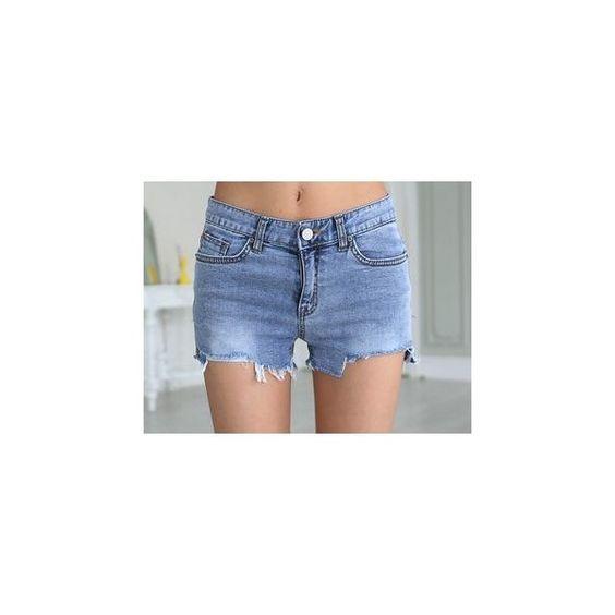 Fray-Edge Washed Denim Shorts ($48) ❤ liked on Polyvore featuring shorts, women, denim short shorts, blue jean short shorts, blue cotton shorts, blue jean shorts and blue denim shorts