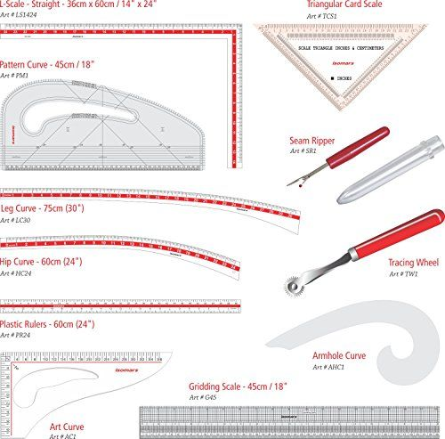 Isomars Tailoring Kit Set Of 11 Fdk1424 Technical Drawing Triangular Scale Kit