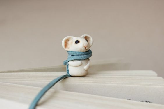 Mouse Bookmark Book Miniature clay idea Animal by HouseOnTheCloud