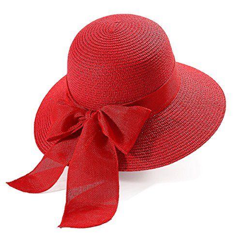 Strohhut mit Zierband aus Strasssteinen und Schleife Damen Sonnenhut Hut