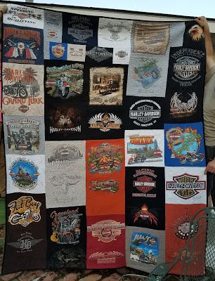 Fleur de Lis Quilts and Accessories: Harley Davidson customer memory quilt