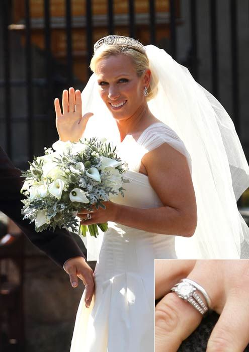 Hello!-Zara Phillips on her wedding day, with a closeup of her wedding and engagement rings