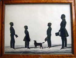 The Hubard Gallery, circa 1835 A fabulous group silhouette of a father and his three sons, one holds a hat, the other a book and the youngest a twig for the family dog cut out and embellished with gold, watercolour background with two trade labels Number 8, within original maple wood frame Dimensions: 14 inches high