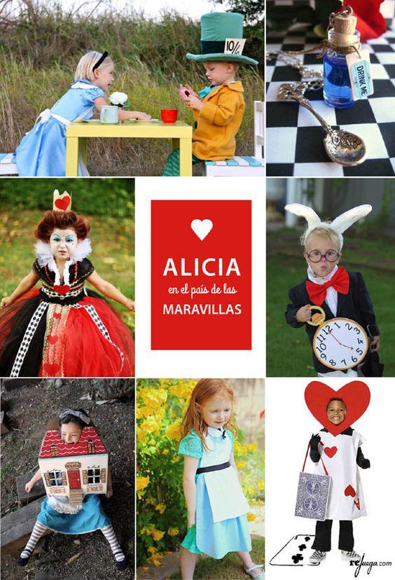 Disfraces para niños inspirados en el cuento clásico de Alicia en el País de las Maravillas: