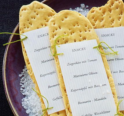Speisekarte auf Cracker/Knäckebrot I Quelle: livingathome.de