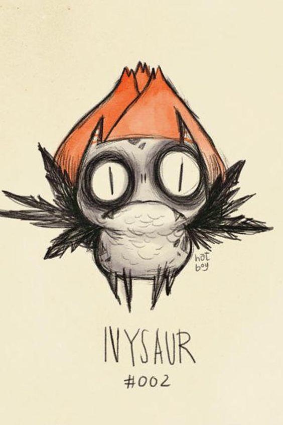 Pokemon Burton style artwork Ivysaur Herbizarre