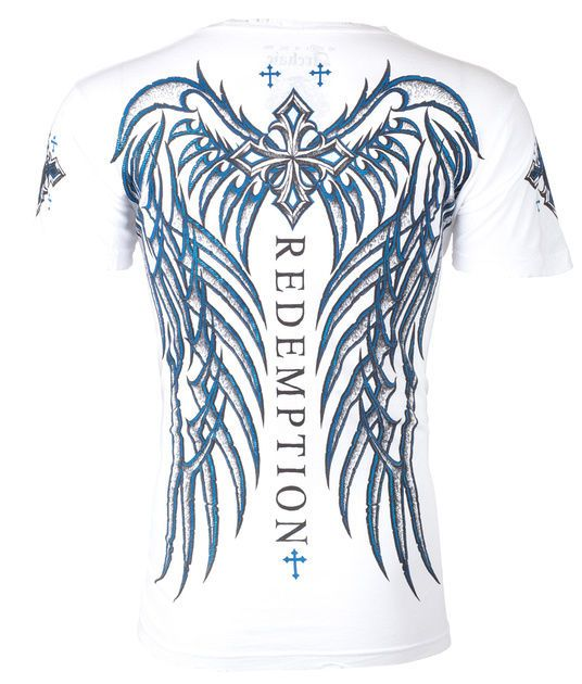 details about archaic affliction mens t shirt spine wings cross tattoo biker ufc m 3xl 40 d. Black Bedroom Furniture Sets. Home Design Ideas