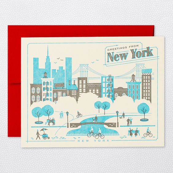 DETAILS      * paper weight: 100 lb ecru 100% recycled paper     * dimensions: 4.25 × 5.5     * designer: lab partners     * inside greeting: blank     * front greeting: greetings from new york